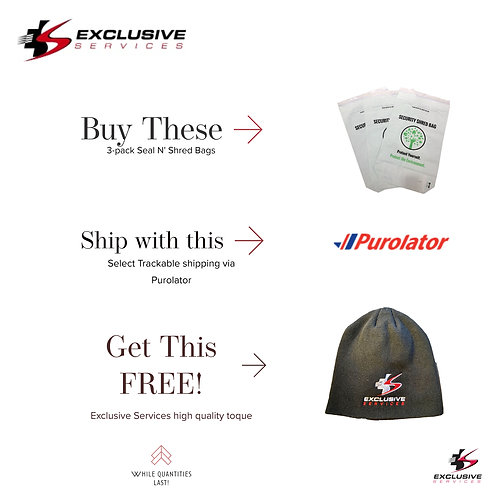 PROMO - Seal N' Shred - 3 PACK - FREE Toque