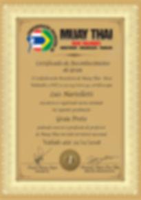 Certificado Professor Confederação Muay Thai