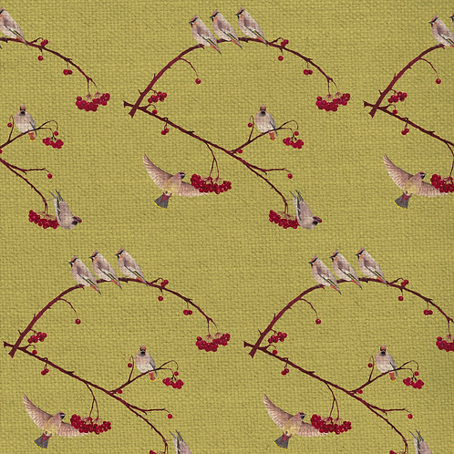 Waxwings fabric-Lentil