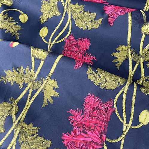 Poppy Fabric -deepest blue