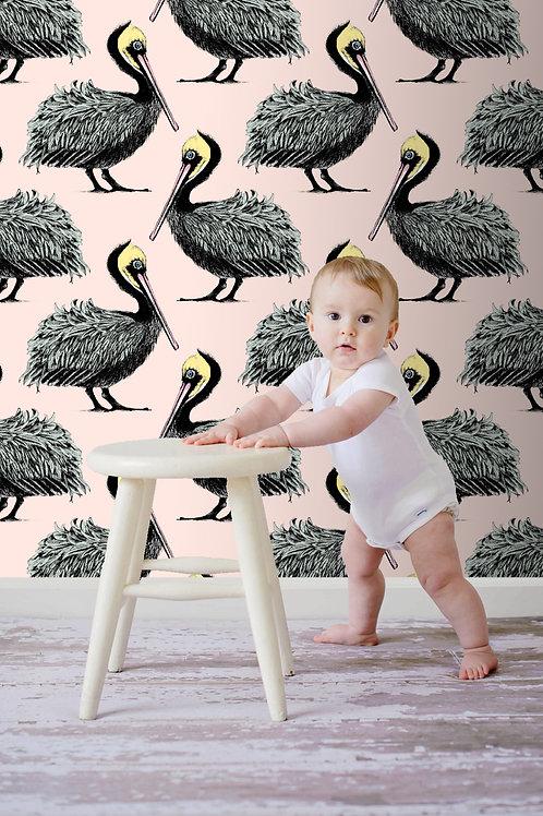 Pelican Wallpaper -Petal Pink/Baby blue