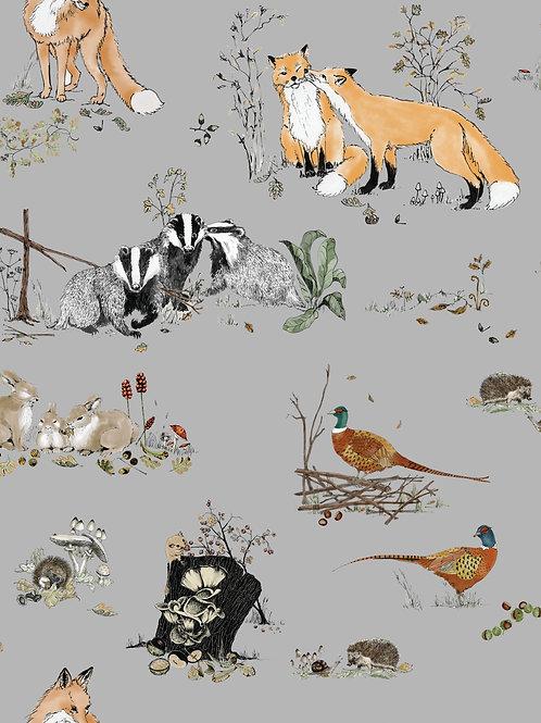 Woodlands wallpaper - grey