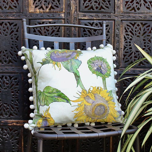 Sunflowers cushion- cream