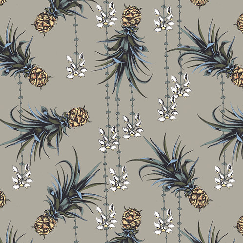Pineapple and Petals Wallpaper-Driftwood