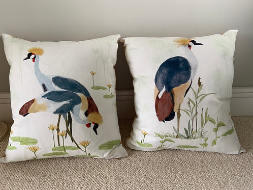 Golden cranes cushion