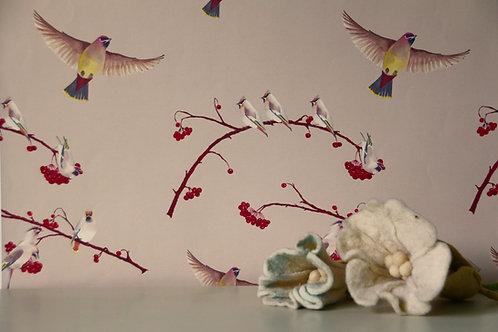 Waxwings Berry Wallpaper Sample