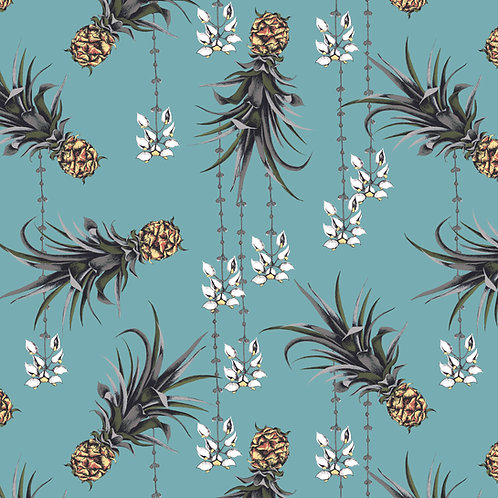 Pineapple and Petals  Fabric sample-ocean