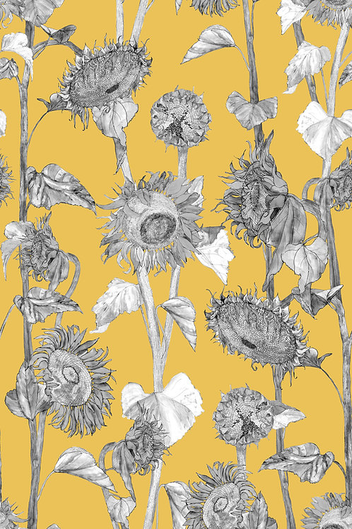 Sunflowers wallpaper-yellow samples