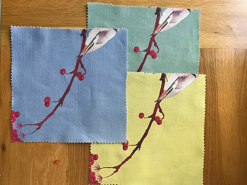 Waxwings fabric sample -China blue