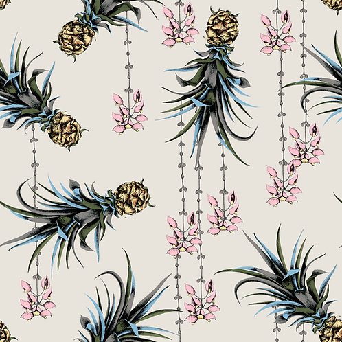 Pineapple and Petals  Fabric sample-stone and pink
