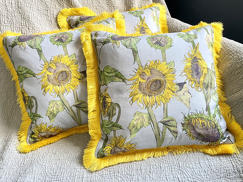 Grey Sunflowers with yellow trim