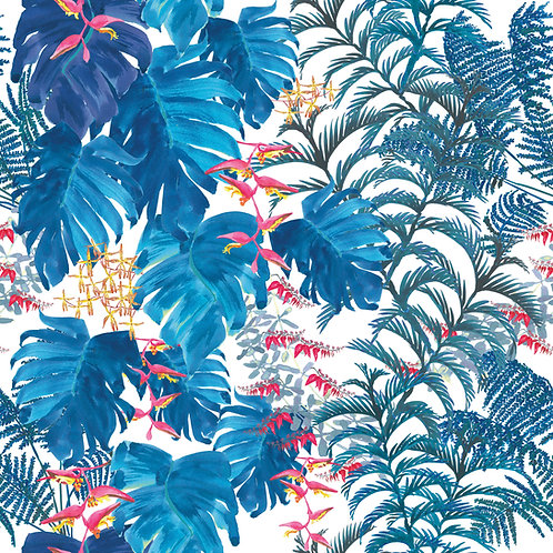 Tropical wallpaper-Denim