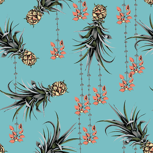 Pineapple and Petals Wallpaper - Ocean