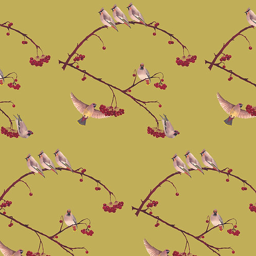 Waxwings Wallpaper - Lentil