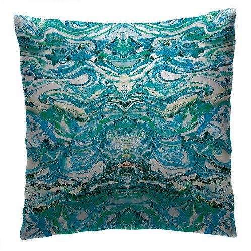 Marbled cushion peacock blue