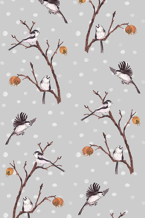 Medlar fabric sample - snowfall