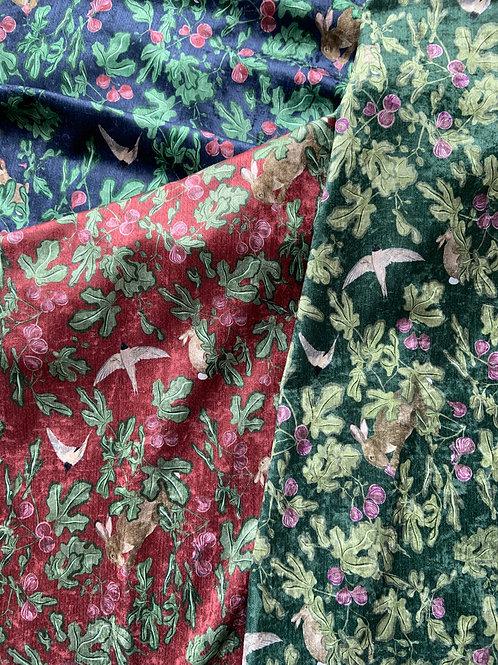Fig velvet fabric sample-Red