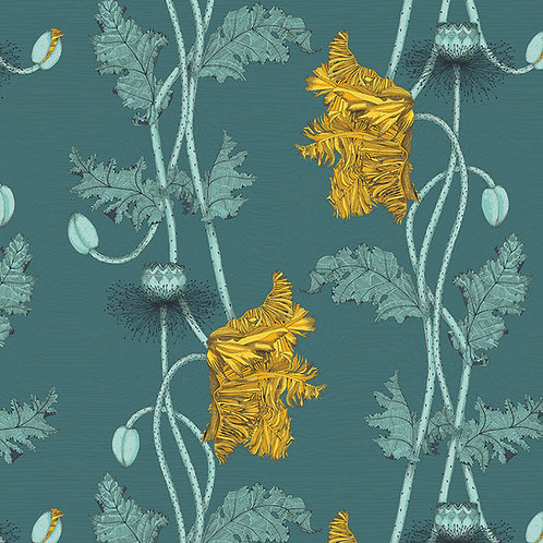 Poppy Fabric sample -teal