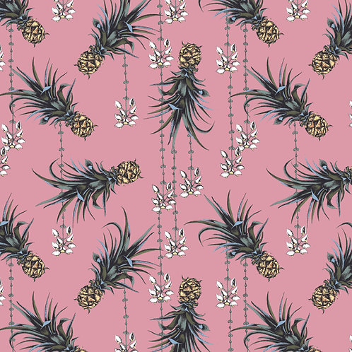 Pineapple and Petals Linen Fabric