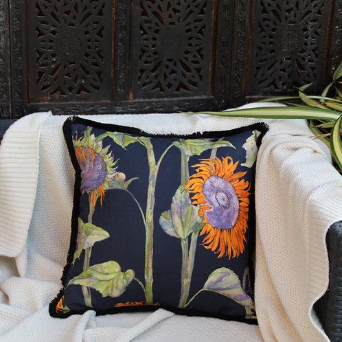 Sunflowers cushion- Black