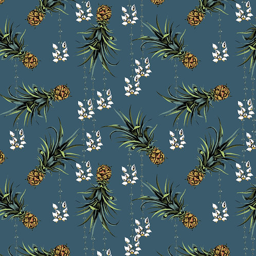 Pineapple and Petals fabric -Harbour Blue fabric