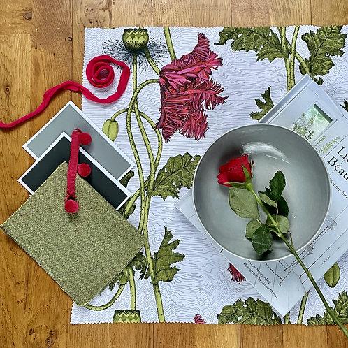 Poppy Fabric sample - white