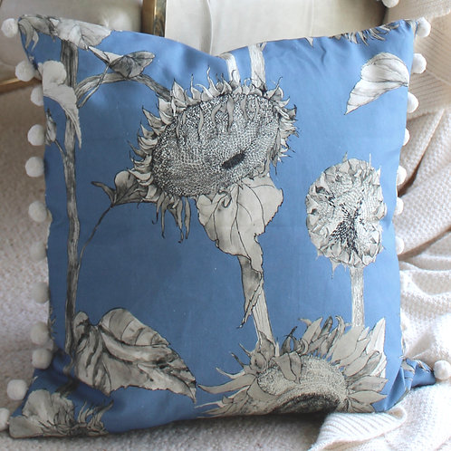 Sunflowers cushion- wedgewood