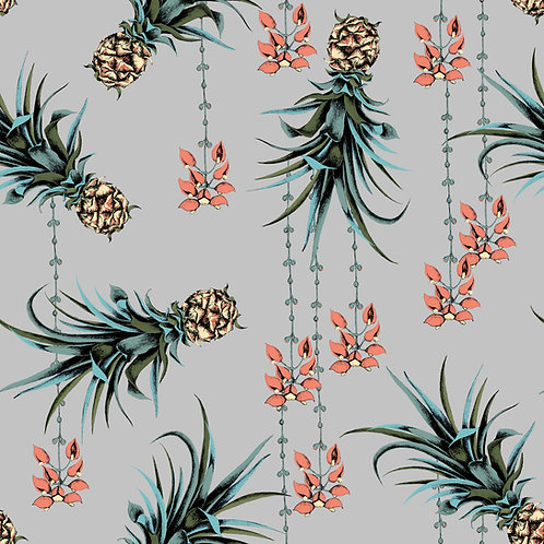 Pineapple and Petals Linen Fabric - sample