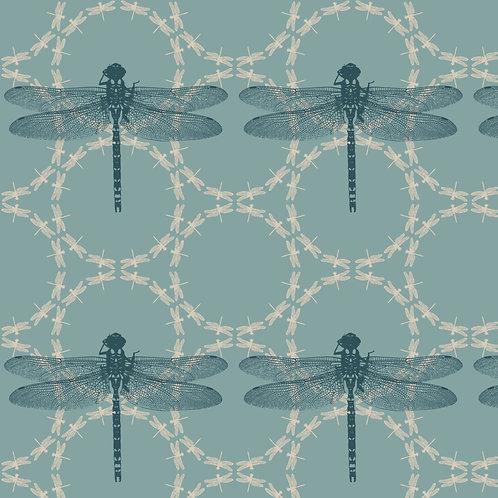 Dragonfly Ripples fabric sample- Aqua