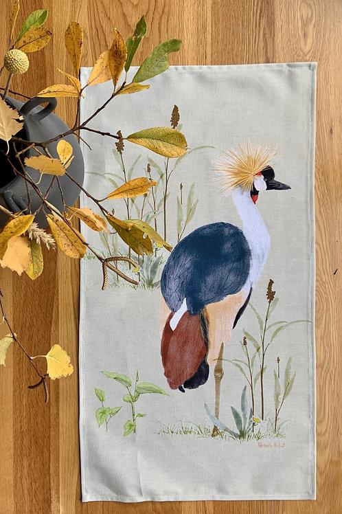 tea towel- Crested Cranes.-stone