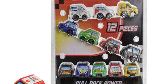 12 Piece Pull Back Micro Cars.