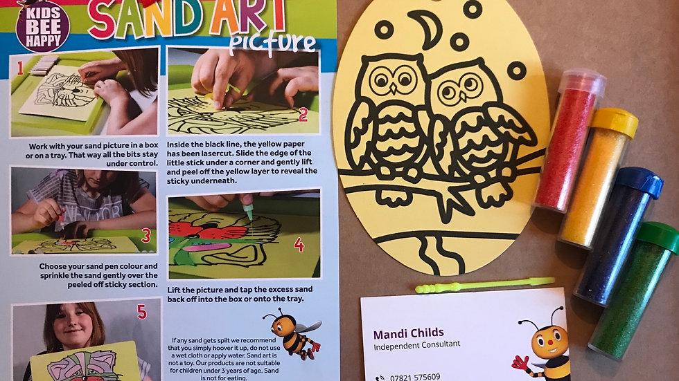 Oval sand art - owls
