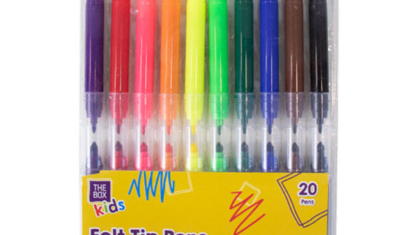 20 Pack Thick And Thin Felt Tip Pens
