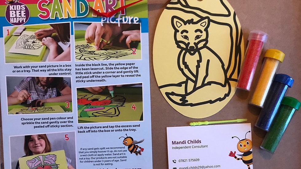 Oval sand art - fox
