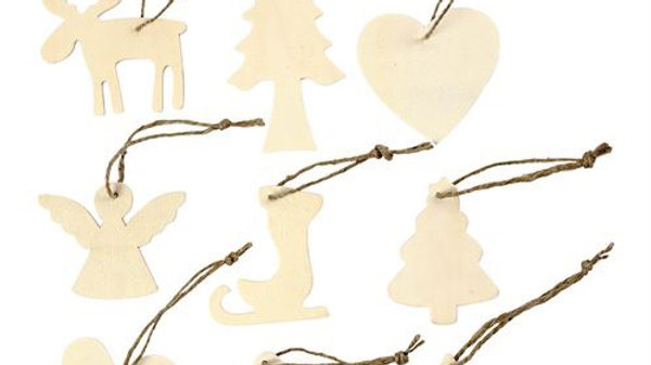 Wooden Hanging Christmas Decorations 3 pack