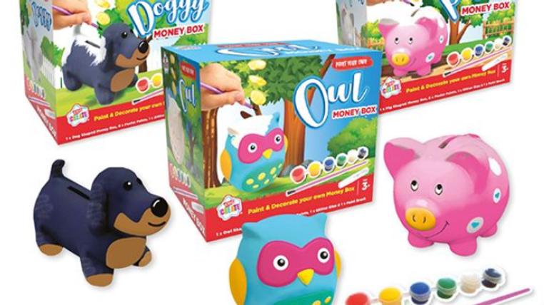 Kids Create Paint Your Own Money Box - 5 Designs