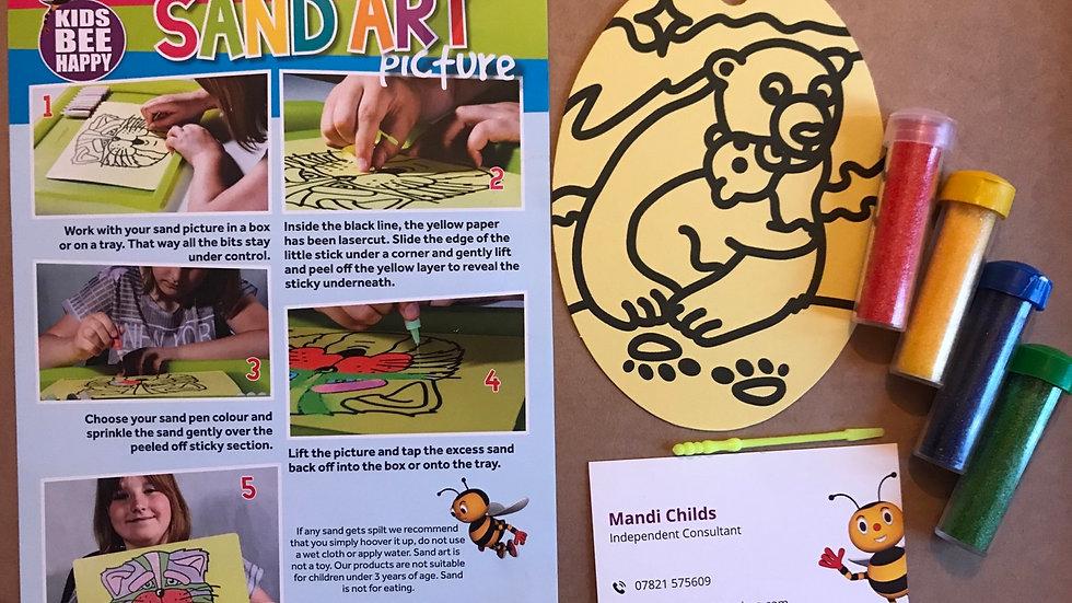 Oval sand art - bears