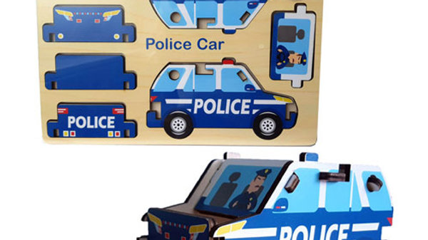 Wood Puzzle - Police Car/Fire Engine