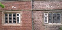 Before and After Old Brick Cleaning