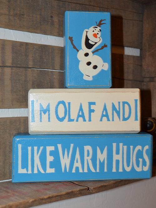 Frozen Olaf I Like Warm Hugs Stacking Blocks