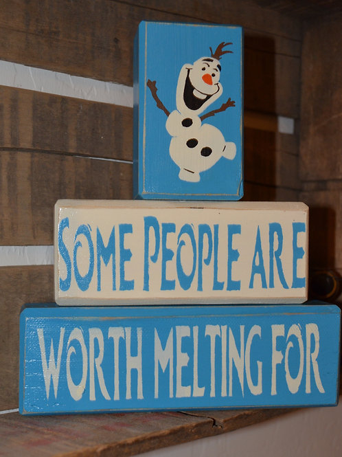 Frozen Olaf Some People Are Worth Melting For Stacking Blocks