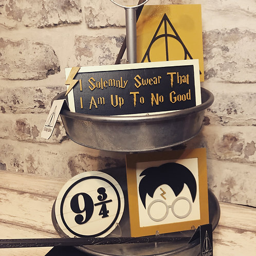 Harry Potter Tiered Tray Decor - 3D Mini Wood Signs