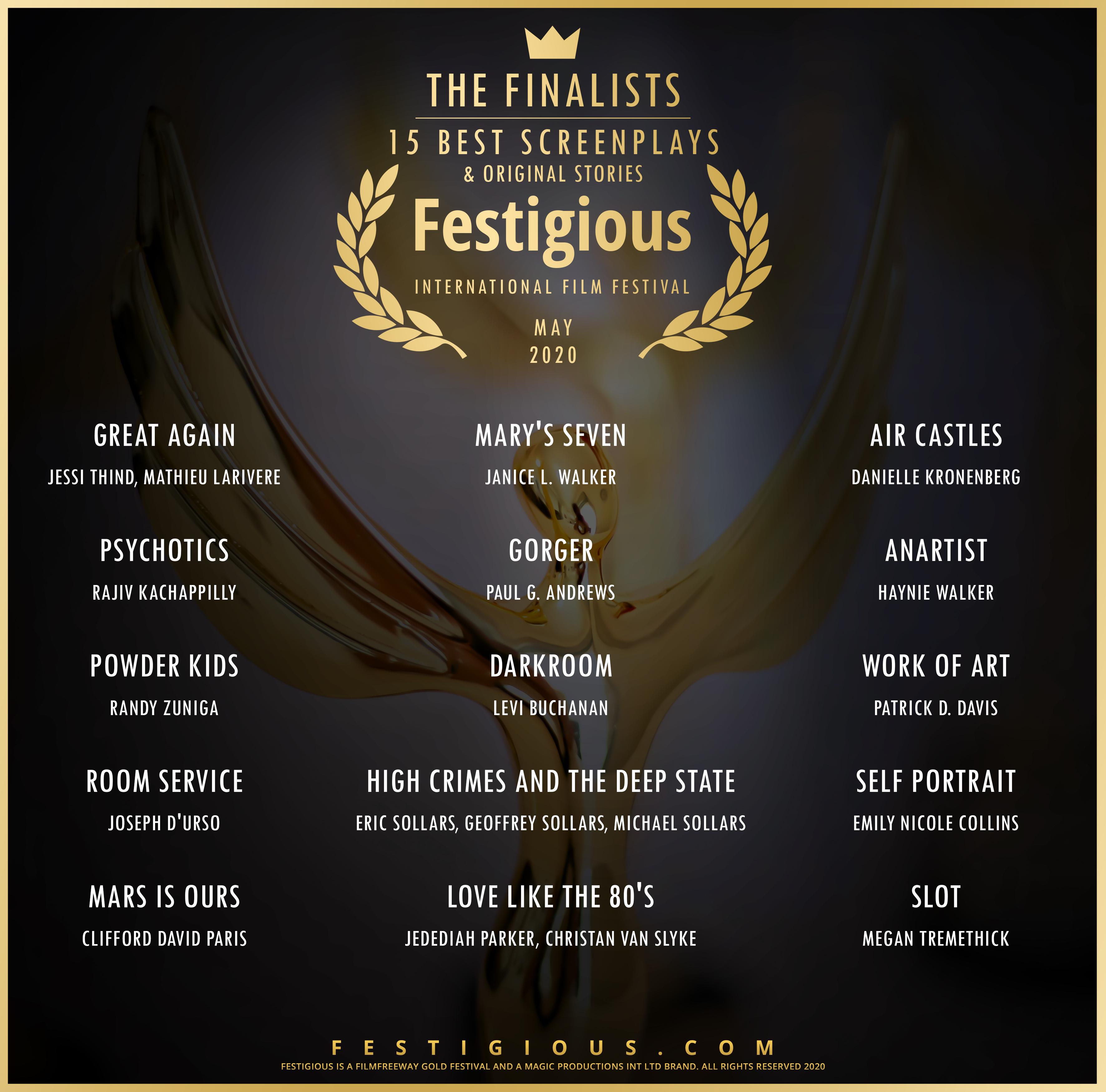Festigious Screenplay Finalists 20