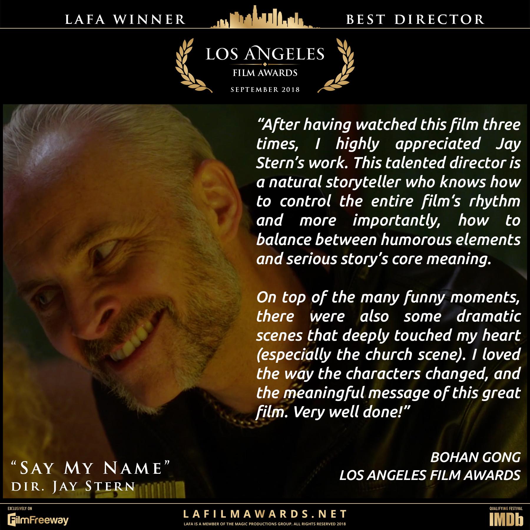 Say My Name - LAFA Best Director - Revie