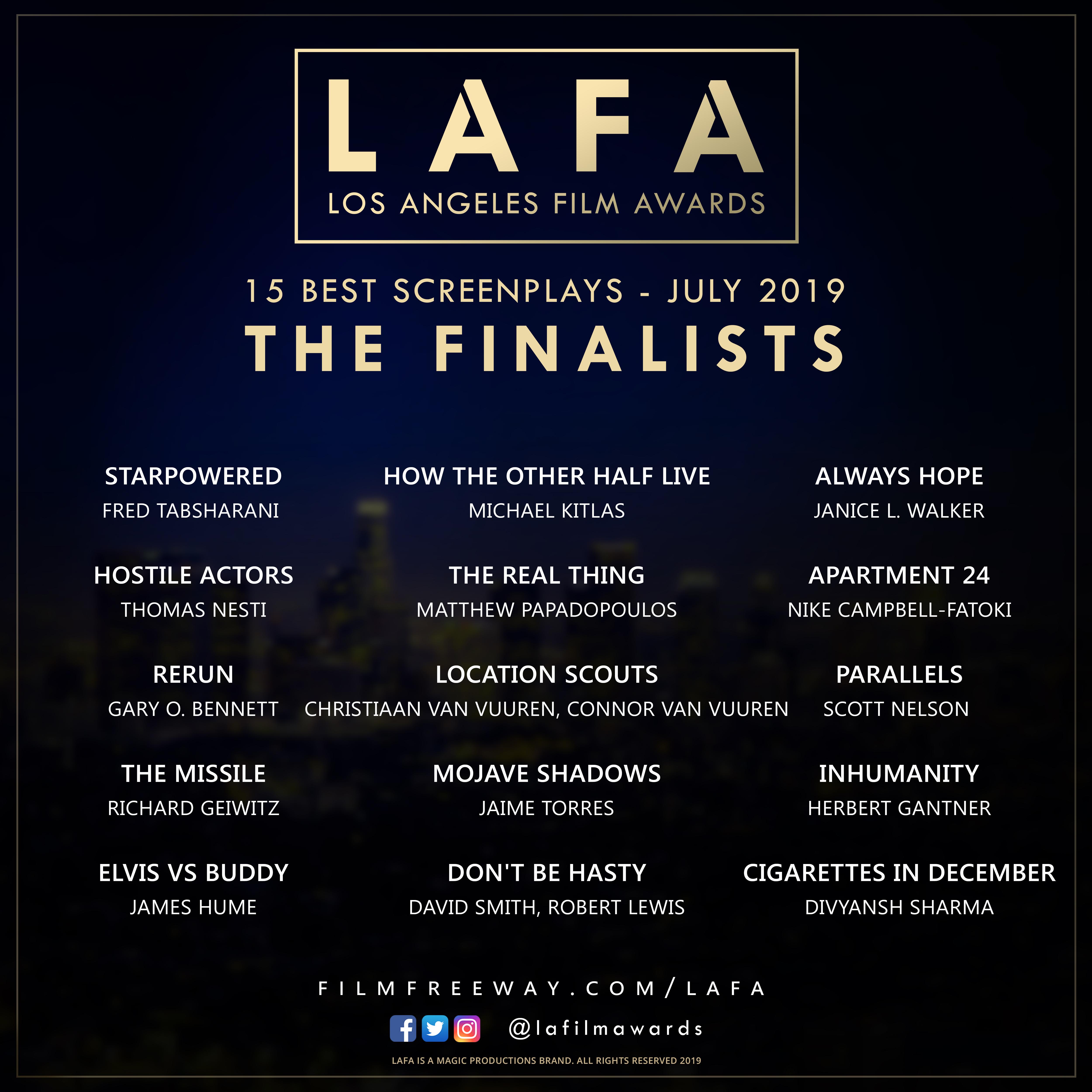 LAFA SCREENPLAY FINALISTS 2019