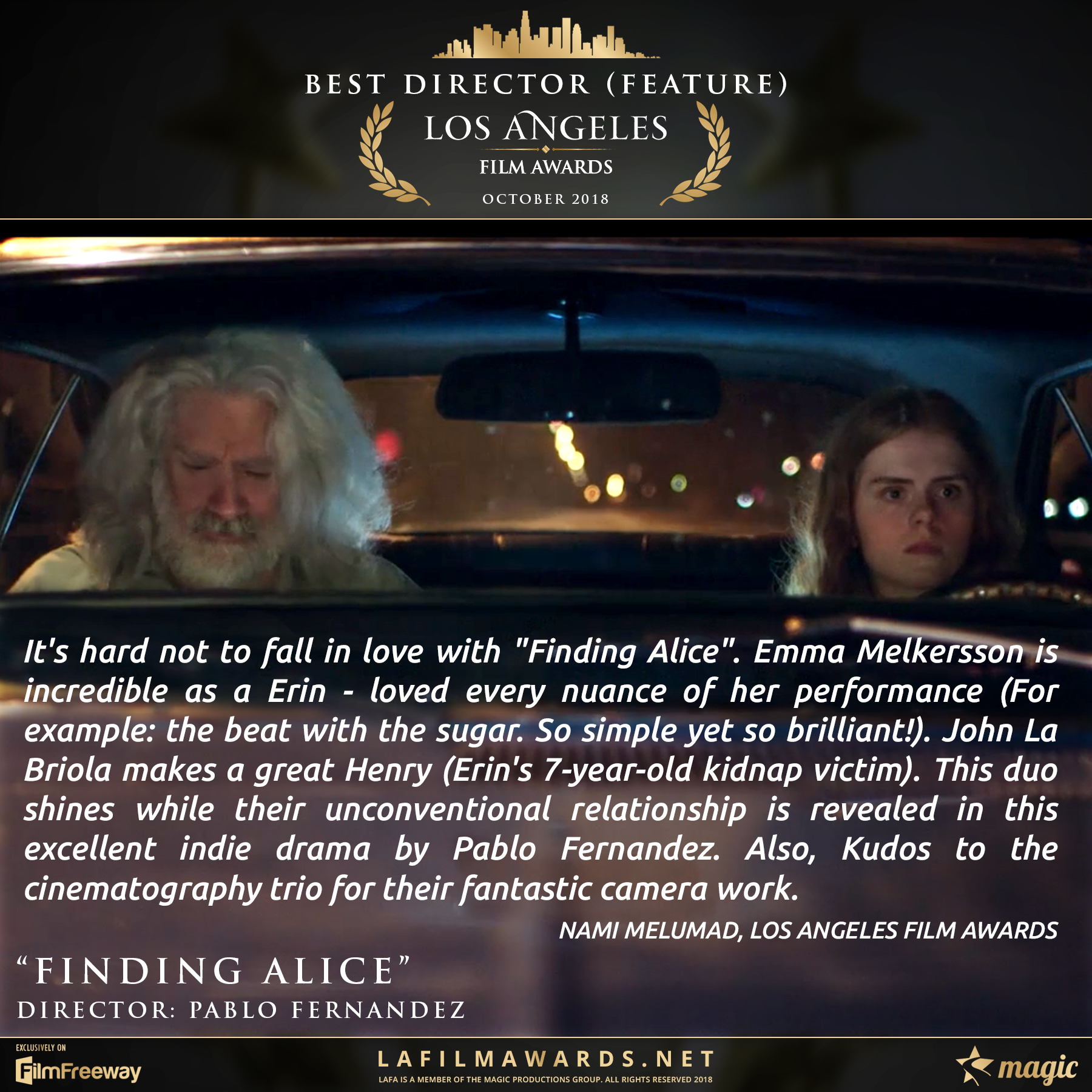 Finding Alice - LAFA Best Director - Fea