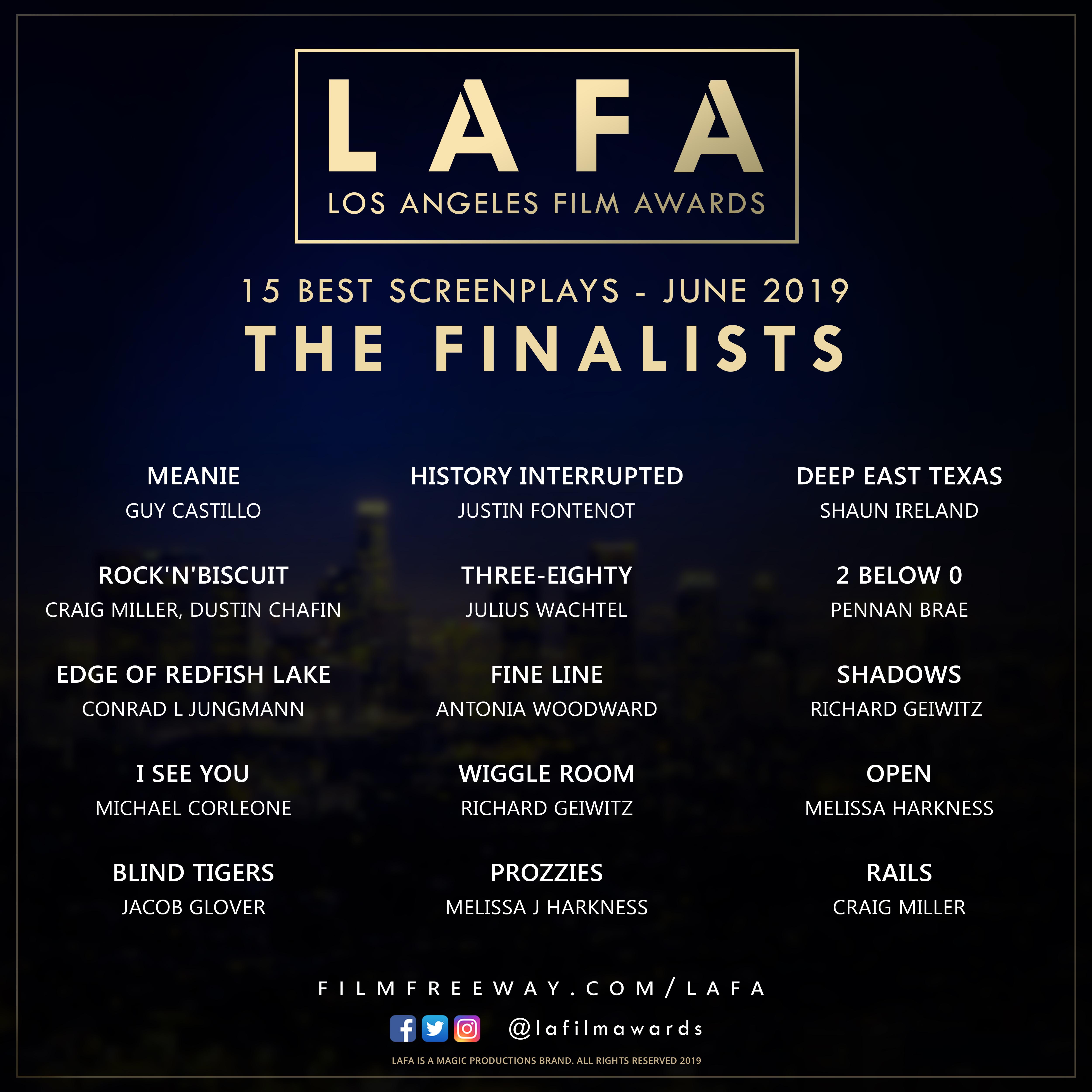 LAFA SCREENPLAY FINALISTS 2019 0
