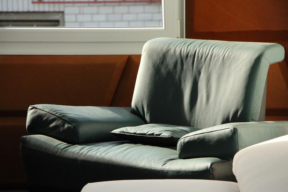 Chef-Sessel LB5 in petrolfarbenen Leder