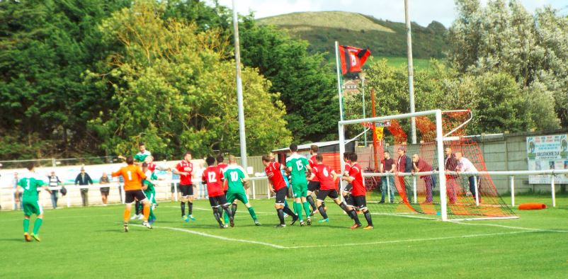 Everyone up for a Street corner before Bridport broke to make it 3-1.  Picture courtesy of Russell Newcombe.