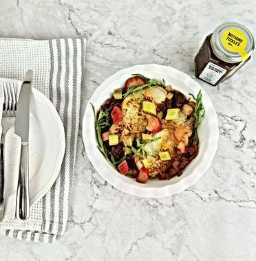 Pork Chops, with Rhubarb, Red Onion & Tarragon